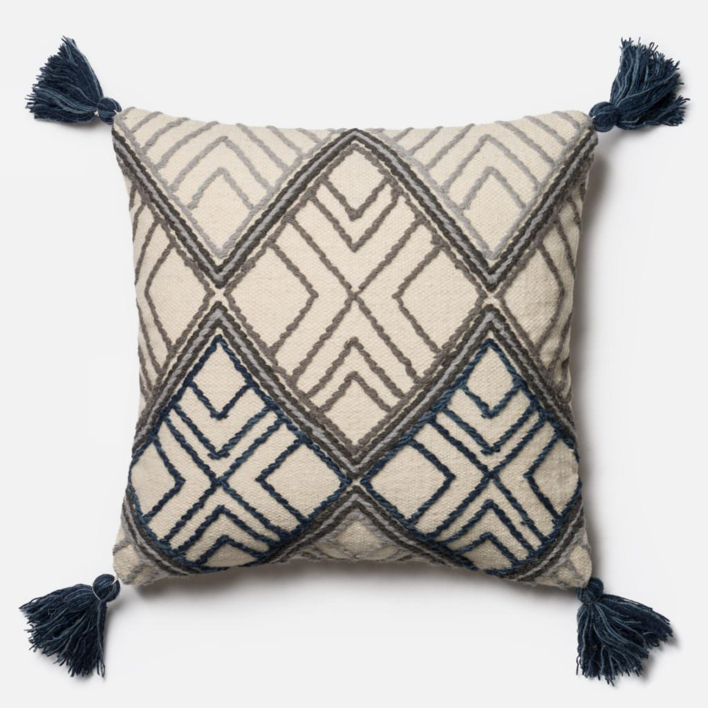 Magnolia Home P0425 Blue / Ivory Pillow