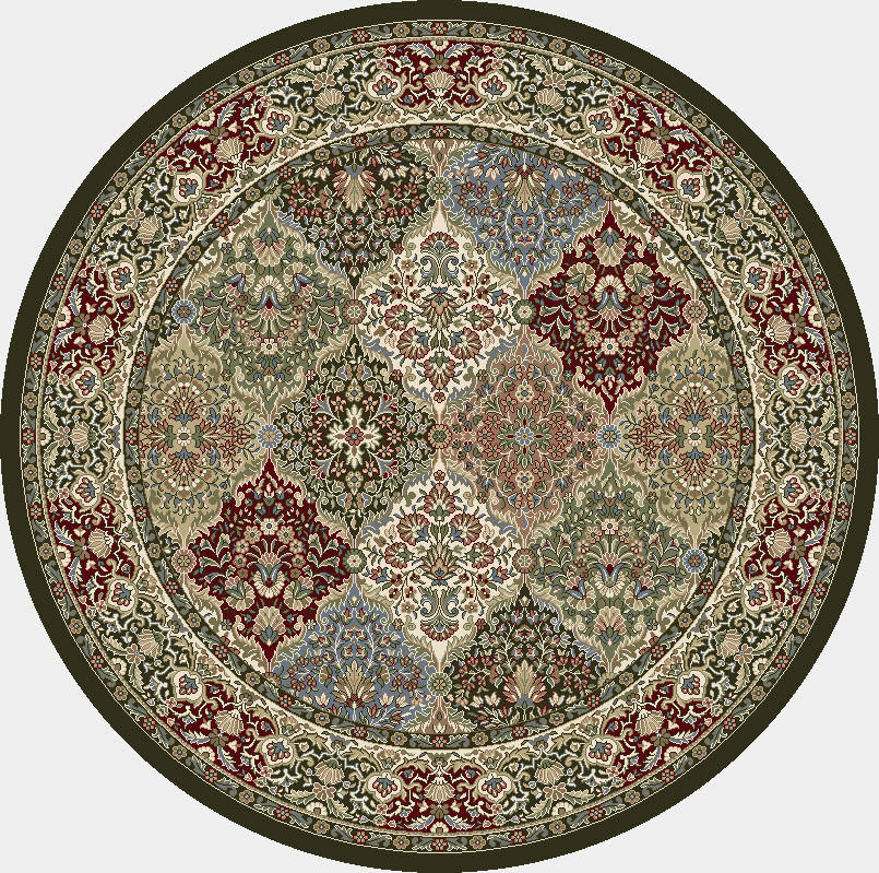 "Dynamic Ancient Garden 7'-10"" x 7'-10"" Round 57008-3233 Cream / Grey Rug"