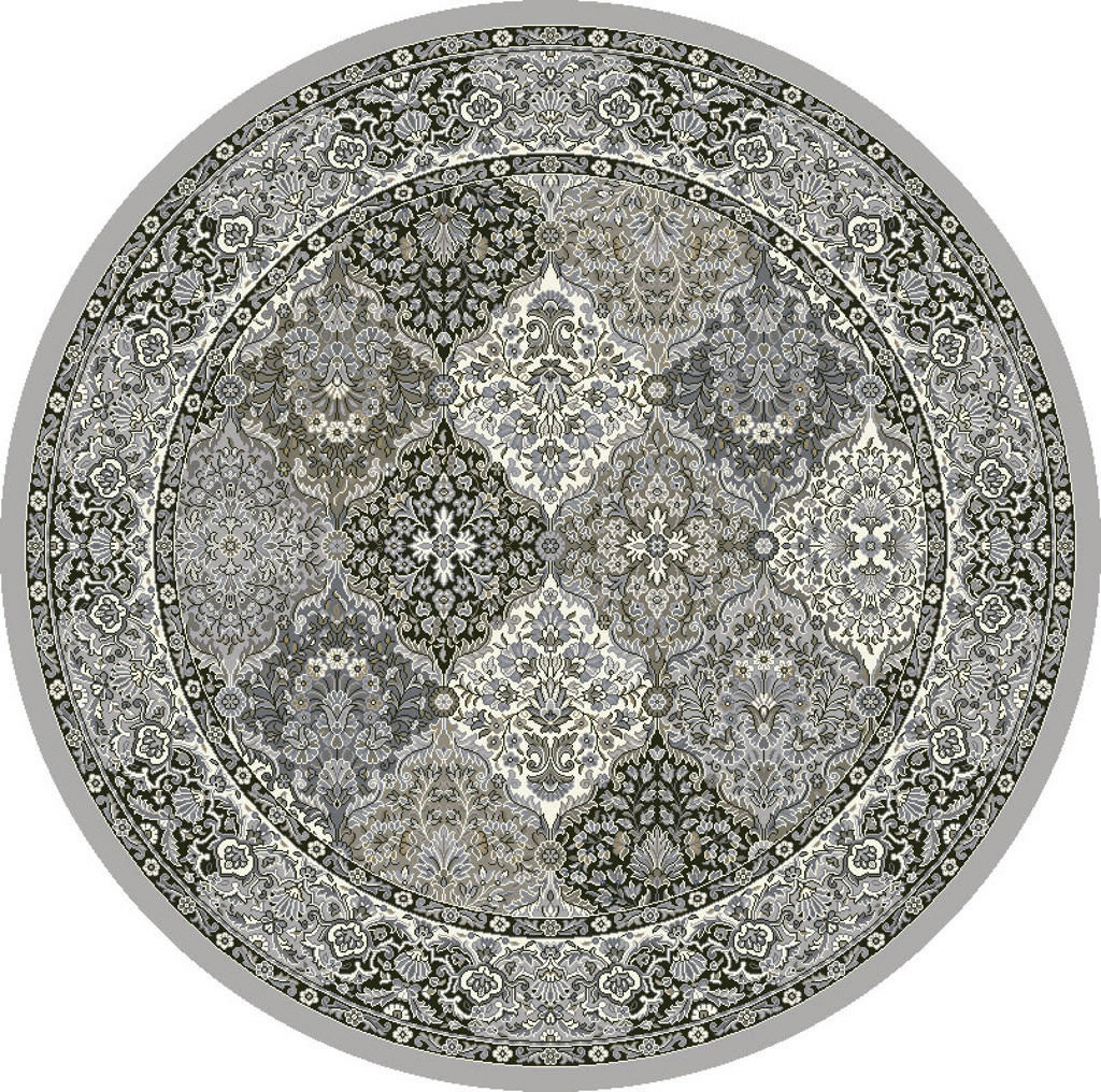 "Dynamic Ancient Garden 7'-10"" x 7'-10"" Round 57008-9696 Cream / Grey Rug"