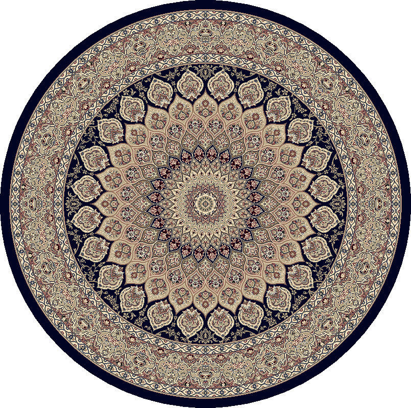 "Dynamic Ancient Garden 7'-10"" x 7'-10"" Round 57090-3484 Navy Rug"