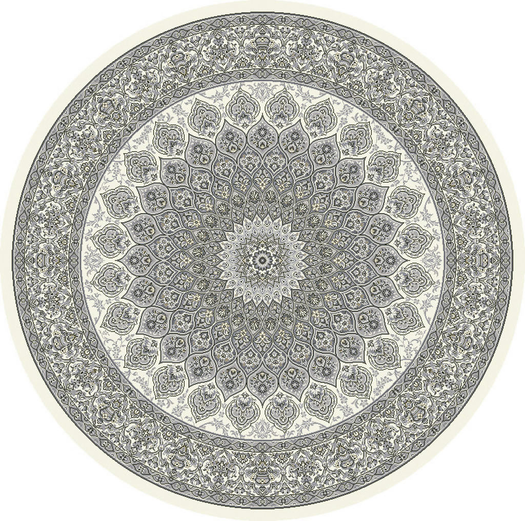 "Dynamic Ancient Garden 7'-10"" x 7'-10"" Round 57090-6666 Cream / Grey Rug"