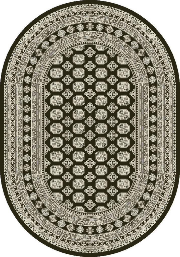 "Dynamic Ancient Garden 6'-7"" x 9'-6"" Oval 57102-3636 Charcoal / Silver Rug"