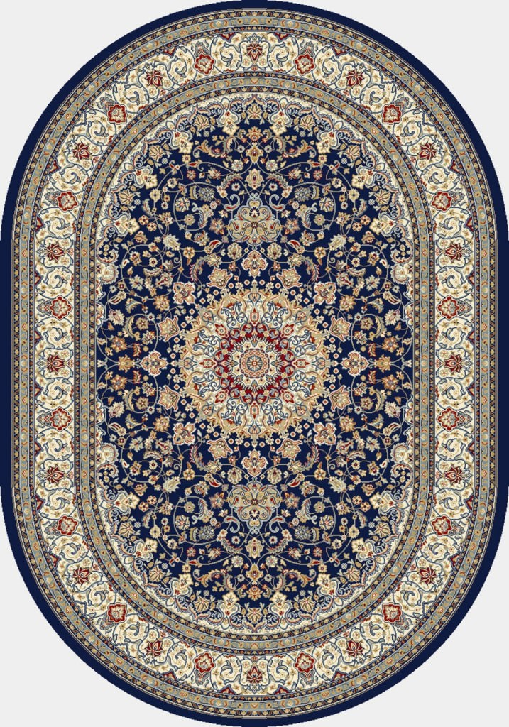 "Dynamic Ancient Garden 6'-7"" x 9'-6"" Oval 57119-3434 Blue / Ivory Rug"