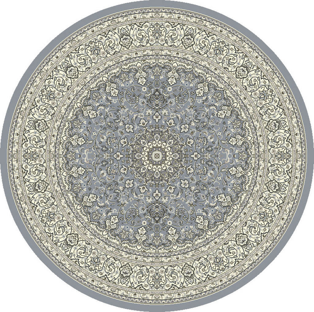 "Dynamic Ancient Garden 7'-10"" x 7'-10"" Round 57119-4646 Steel Blue / Cream Rug"