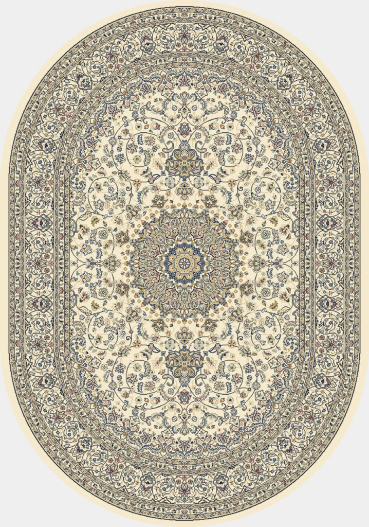"Dynamic Ancient Garden 6'-7"" x 9'-6"" Oval 57119-6464 Ivory Rug"