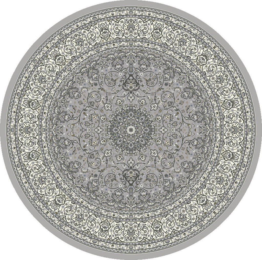 "Dynamic Ancient Garden 7'-10"" x 7'-10"" Round 57119-9666 Soft Grey / Cream Rug"