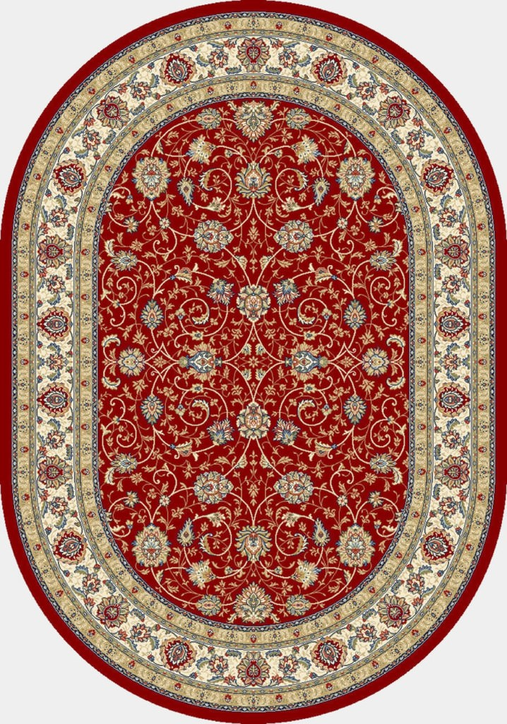 "Dynamic Ancient Garden 6'-7"" x 9'-6"" Oval 57120-1464 Red / Ivory Rug"
