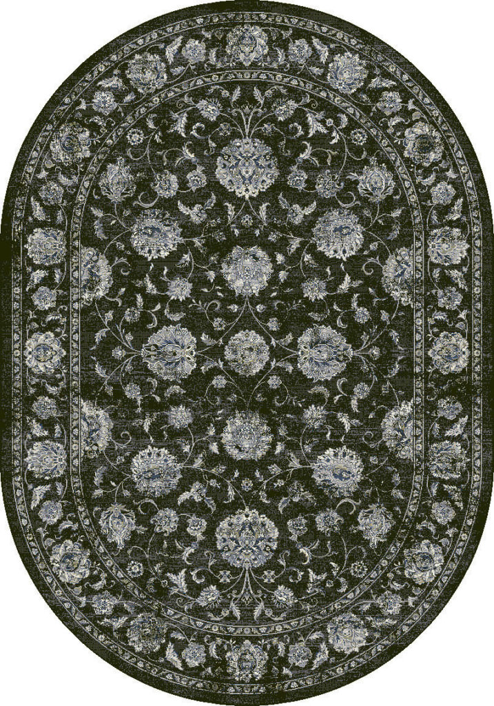 "Dynamic Ancient Garden 6'-7"" x 9'-6"" Oval 57126-3636 Charcoal / Silver Rug"