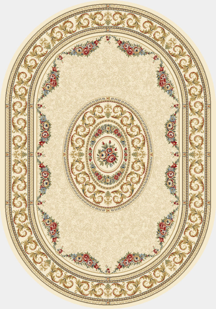 "Dynamic Ancient Garden 6'-7"" x 9'-6"" Oval 57226-6464 Ivory Rug"