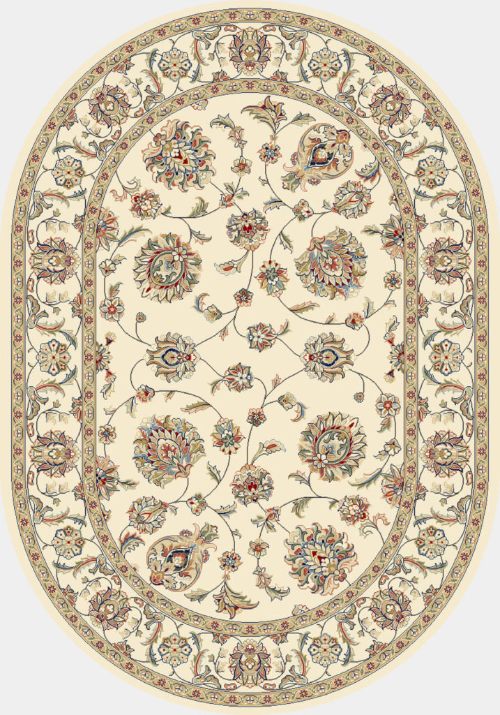 "Dynamic Ancient Garden 6'-7"" x 9'-6"" Oval 57365-6464 Ivory Rug"